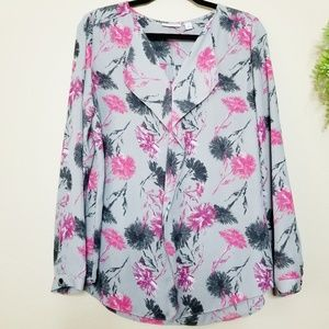 Halogen | Gray Floral Waterfall Blouse
